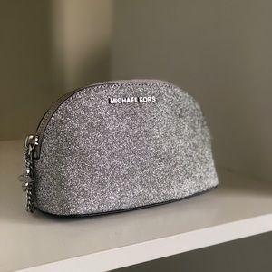 Michael Kors Silver Glitter Makeup/Travel Bag.